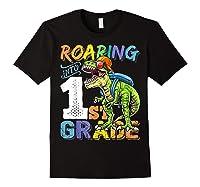 Roaring 1st Grade Dinosaur Back To School Backpack Shirt Boy Black
