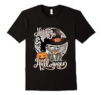 Happy Halloween Cute Cat In Witch Hat Pumpkin Spooky Novelty T Shirt Black