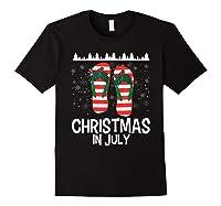 Christmas In July Santa Flip Flop Summer Xmas Gift Shirts Black