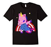 Dabbing Unicorn Merica 4th Of July For Shirts Black