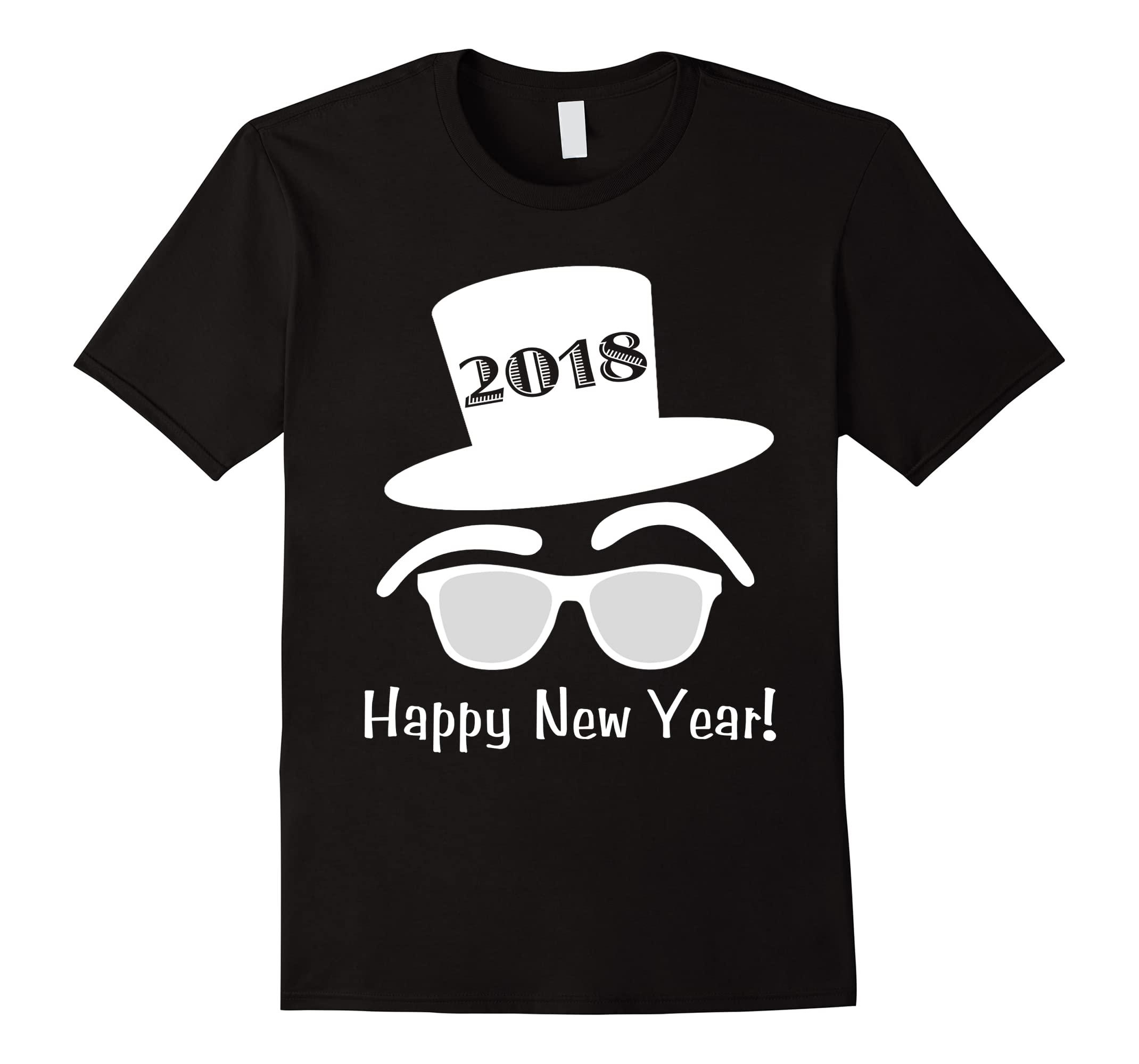 2018 Hipster Top Hat Sunglasses Happy New Years Eve T-shirt-RT