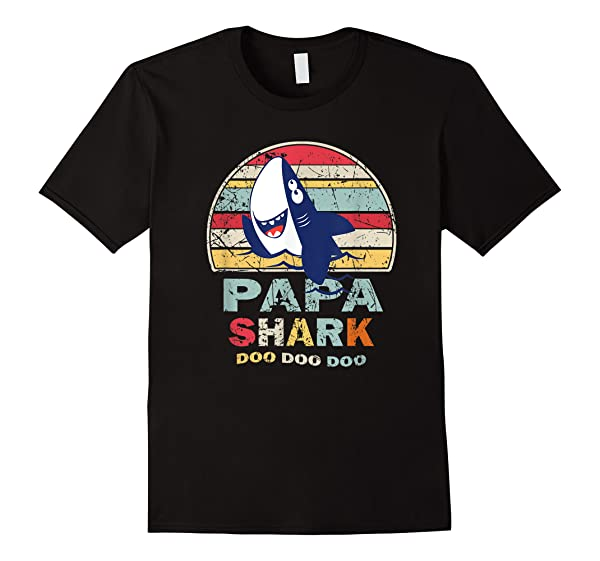 Vintage Papa Shark Shirt Fathers Day Gift For