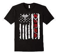 Patriotic American Usa Flag Correctional & Rn Nurse Tshirt Black
