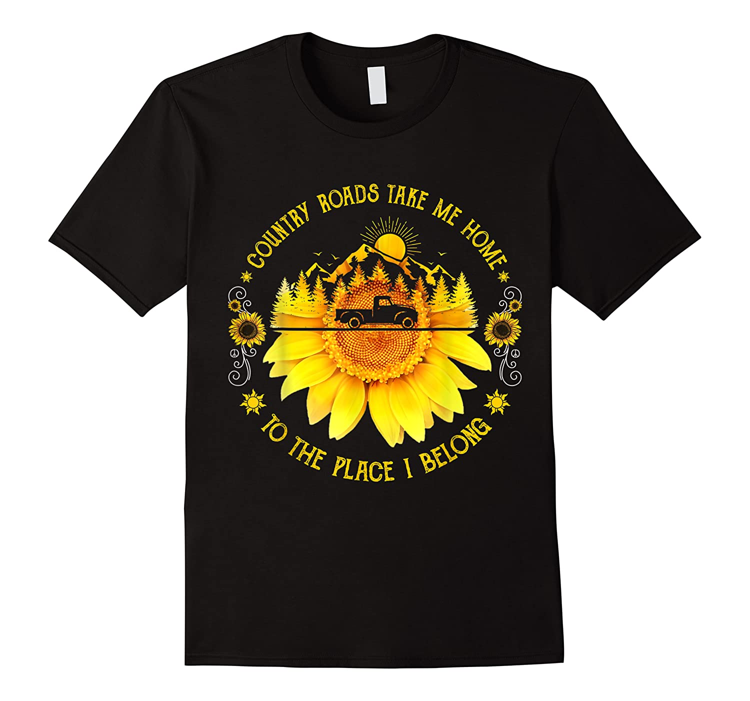 Sunflower Country Roads Take Me Home Funny Farmer Gift Shirts