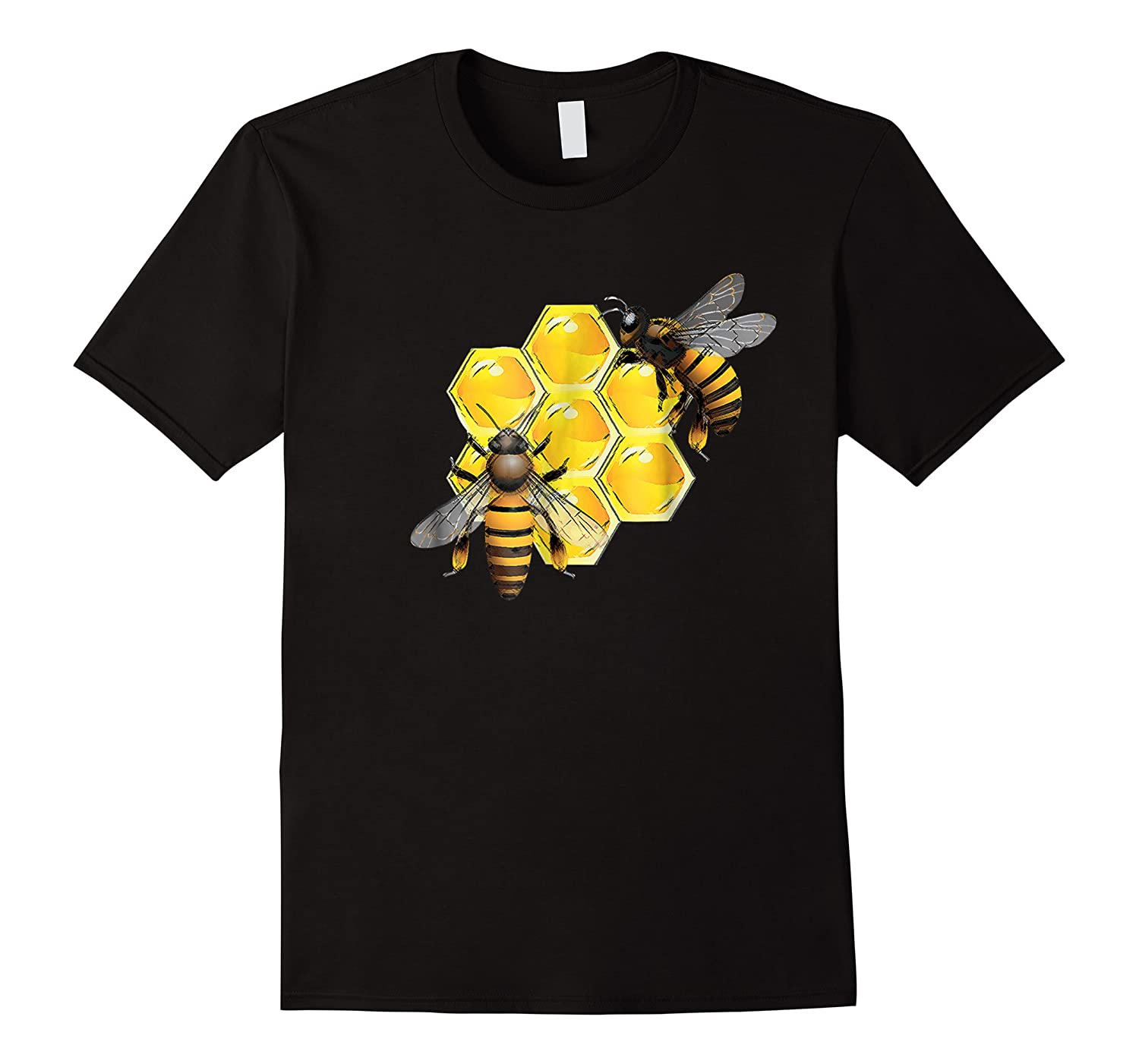 Honeycomb Pattern With Two Bees Drawing Shirts