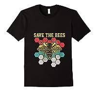 Save The Bees Vintage Retro Beekeeping Beekeeper Gift Shirts Black