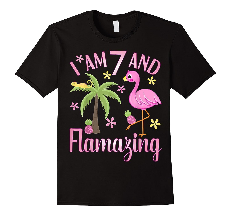 I Am 7 And Flamazing Shirt 7th Birthday Flamingo Lover Gift
