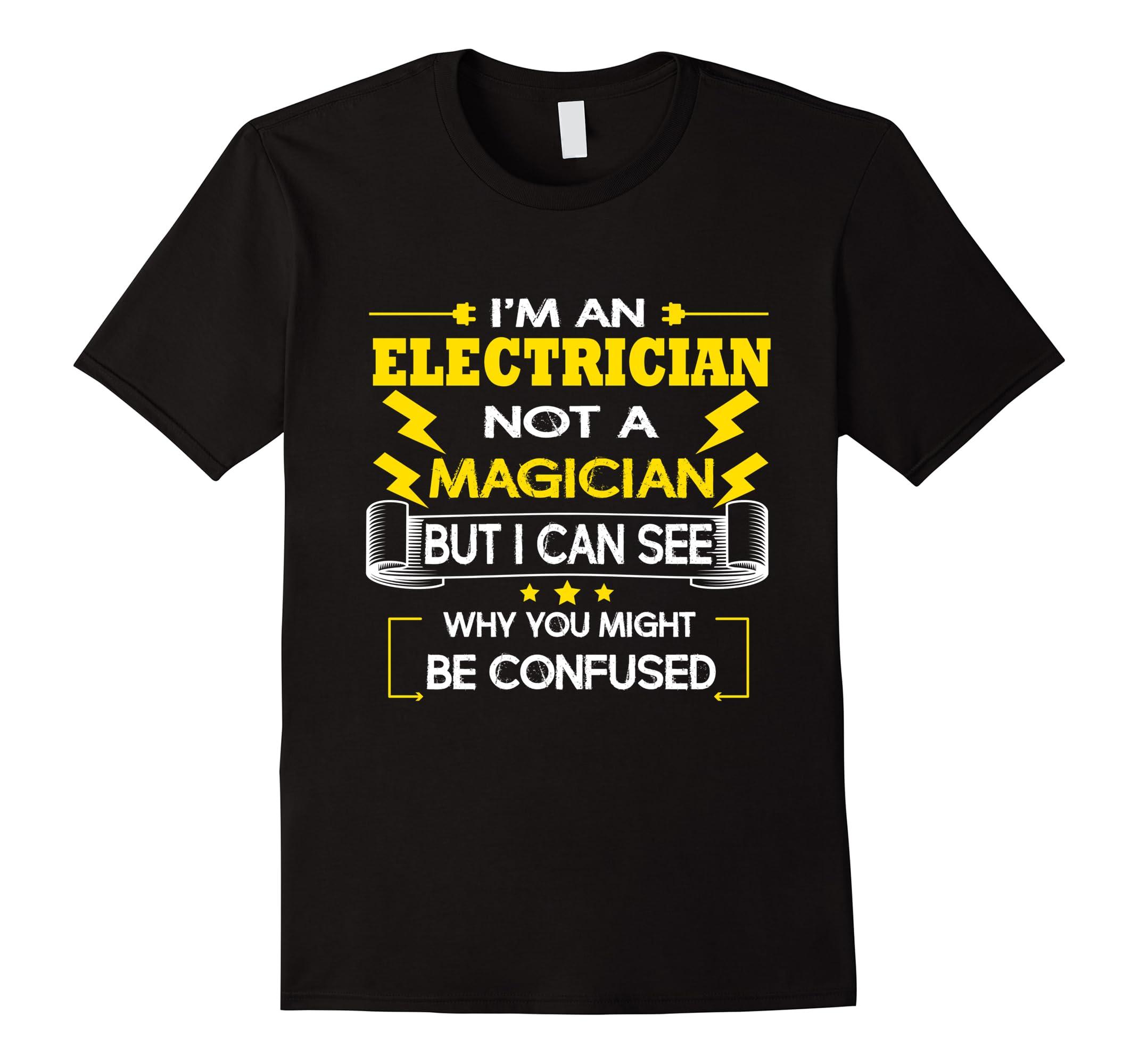 Electrician T Shirt Magician Funny Apparel-Tovacu
