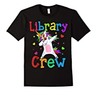 Library Crew Dabbing Unicorn 1st Day Of School Shirts Black
