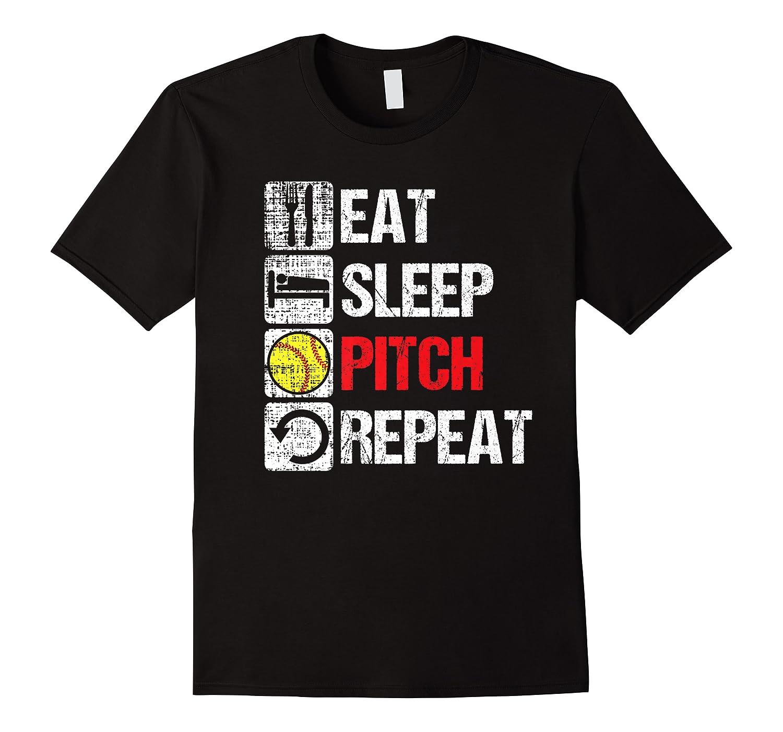 Eat Sleep Pitch Repeat Softball Player Pit Coach Premium T-shirt