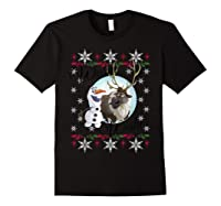 Frozen Olaf Sven Warm Wishes Ugly Sweater Shirts Black