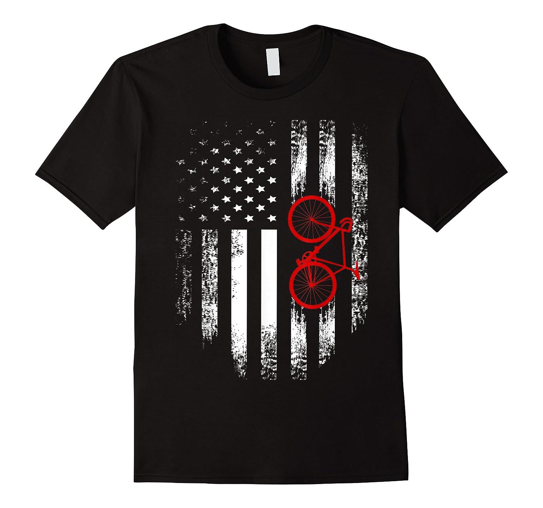 Vintage American Usa Flag Bicycle T-shirt Bicyclist Gift