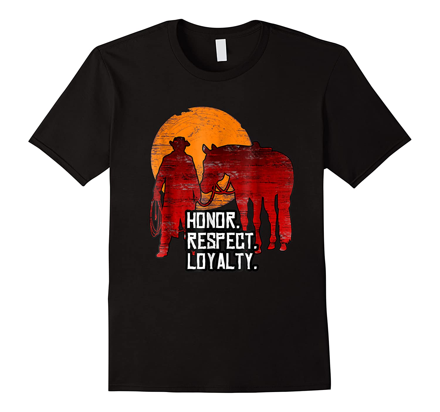 Red Horse Sunset T Shirt Honor Respect Loyalty Cowboy