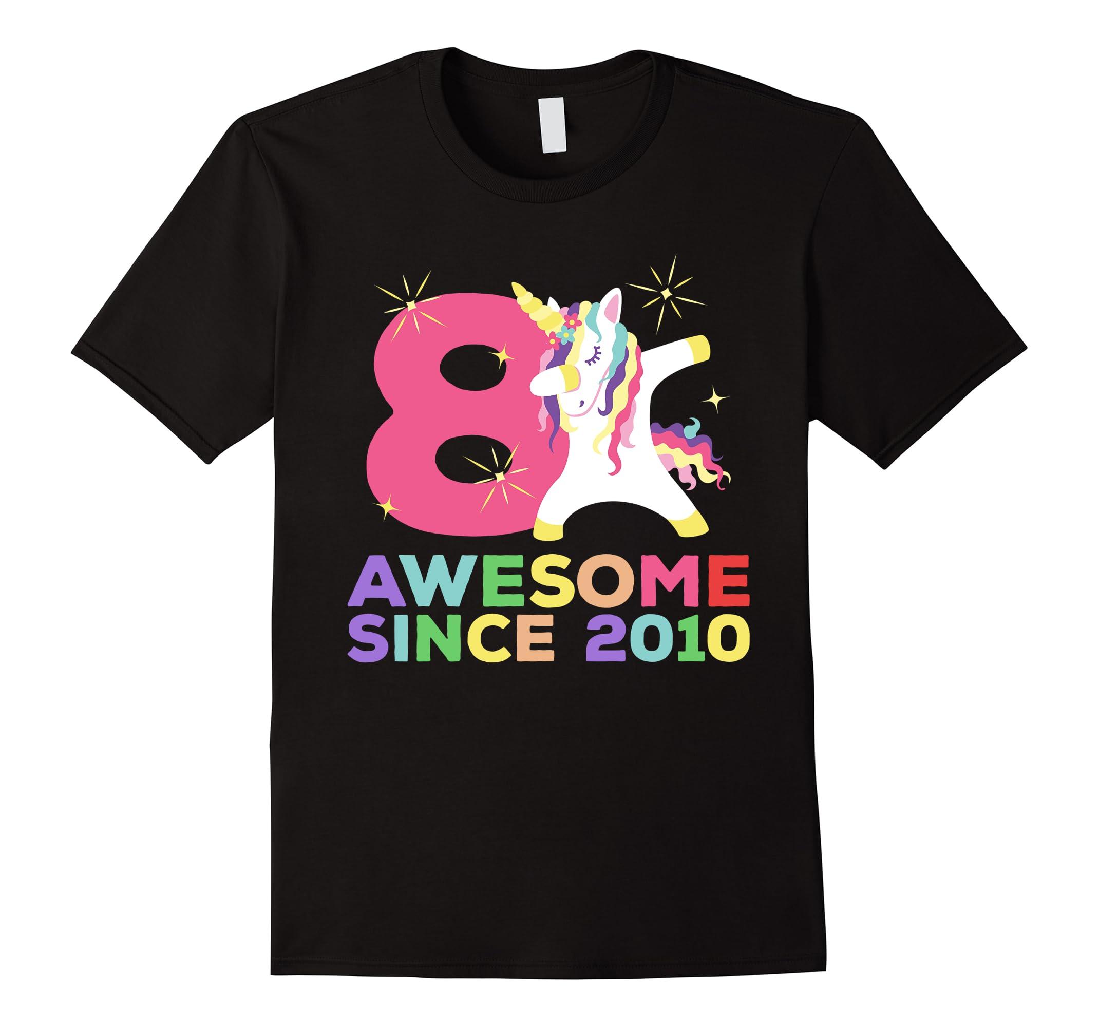 8th B-day T-Shirt - Unicorn Dabbing Awesome Since 2010-RT