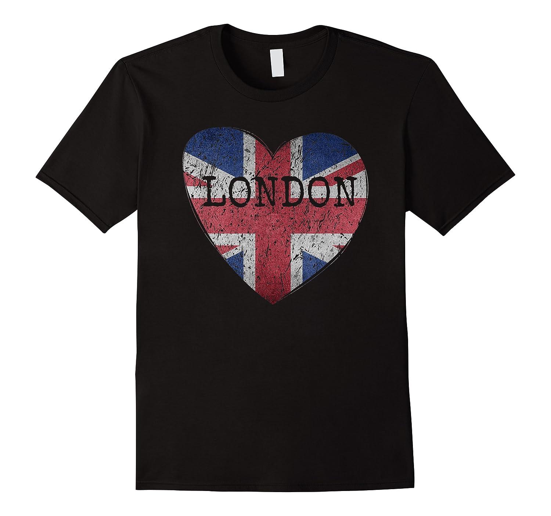 London Flag Uk Vintage Heart Gift Souvenir City T Shirt