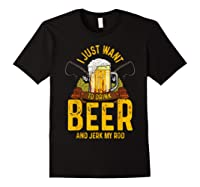 Funny Beer And Fishing Fathers Day Gift Adult Humor Shirts Black