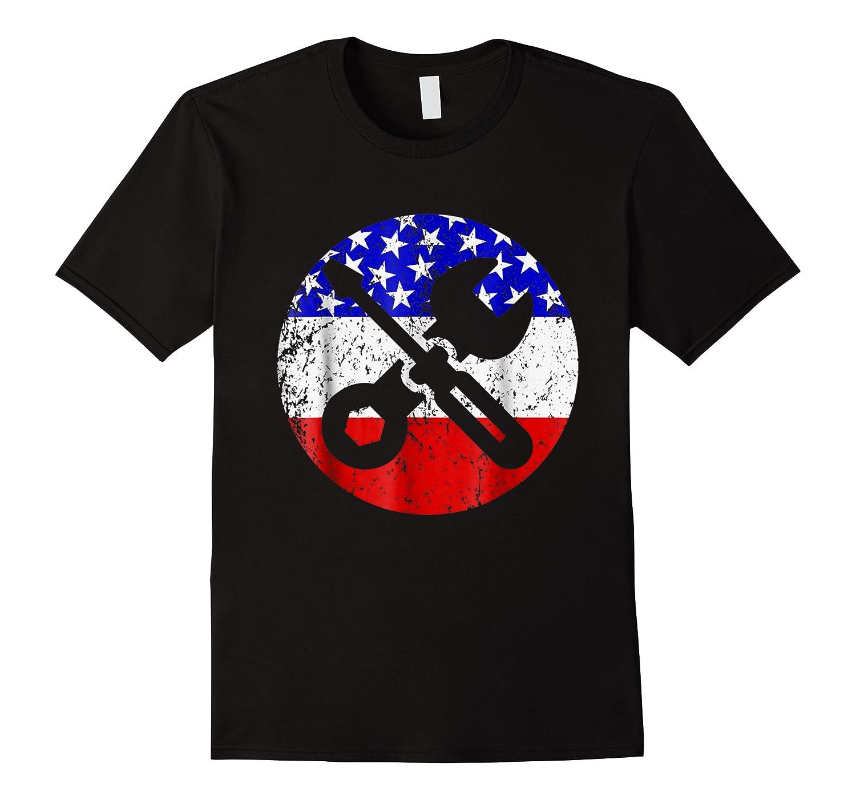 American Flag Car Mechanic Shirt - Screwdriver Wrench Shirt