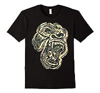 Angry Great Ape Art T-shirt Fierce Silverback Gorilla Face Black