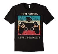 High School Graduation Shirt Level Complete Video Gamer Gift Black