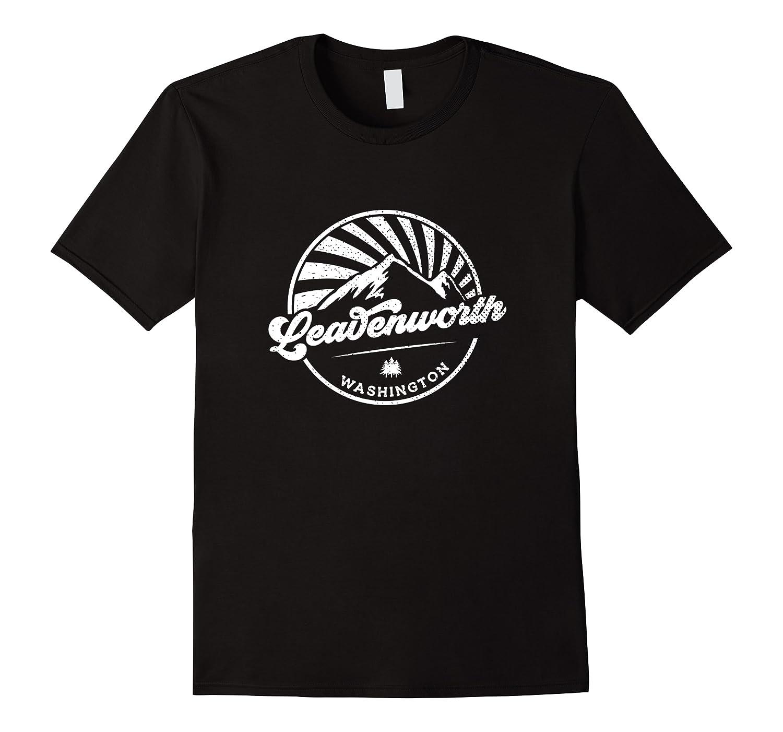 Leavenworth Washington Retro Vintage City Mountains T Shirt Men Short Sleeve