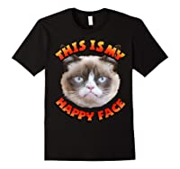 Grumpy Cat This Is My Happy Face Graphic Shirts Black