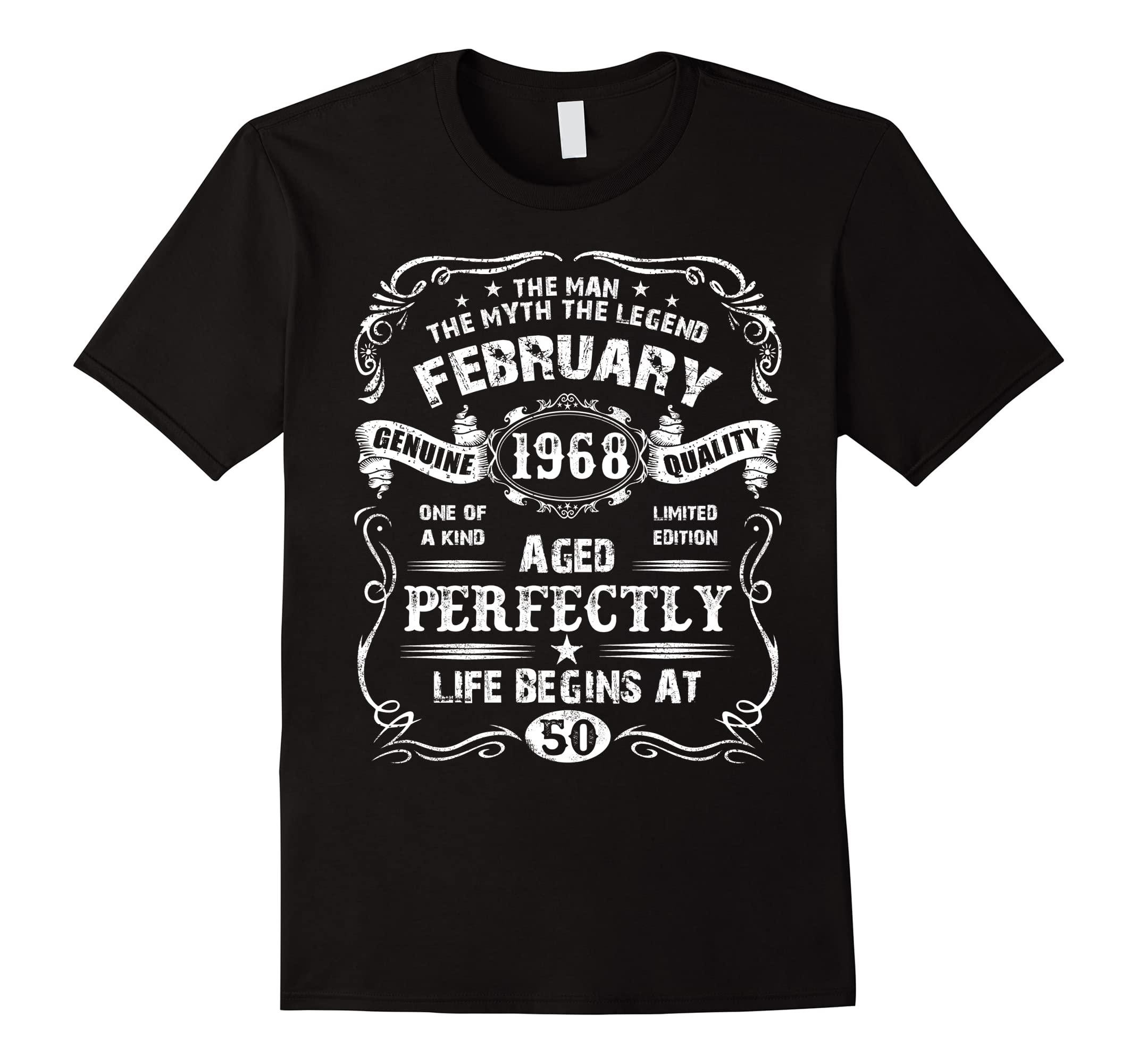Mens February 50th Birthday T Shirt 1968 Legend Life Begins Tee Ah My