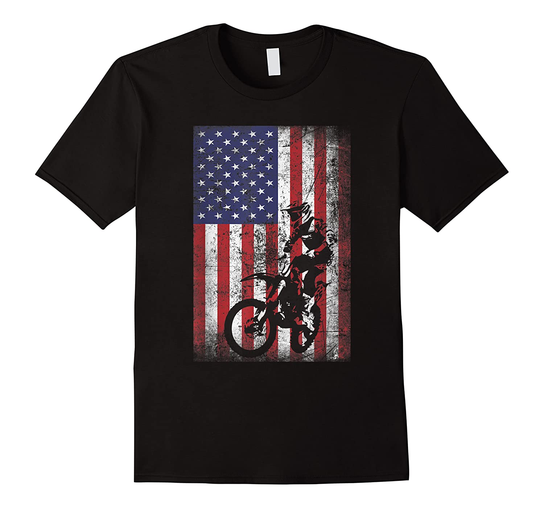 Funny Dirt Bike American Flag 4th Of July Shirts