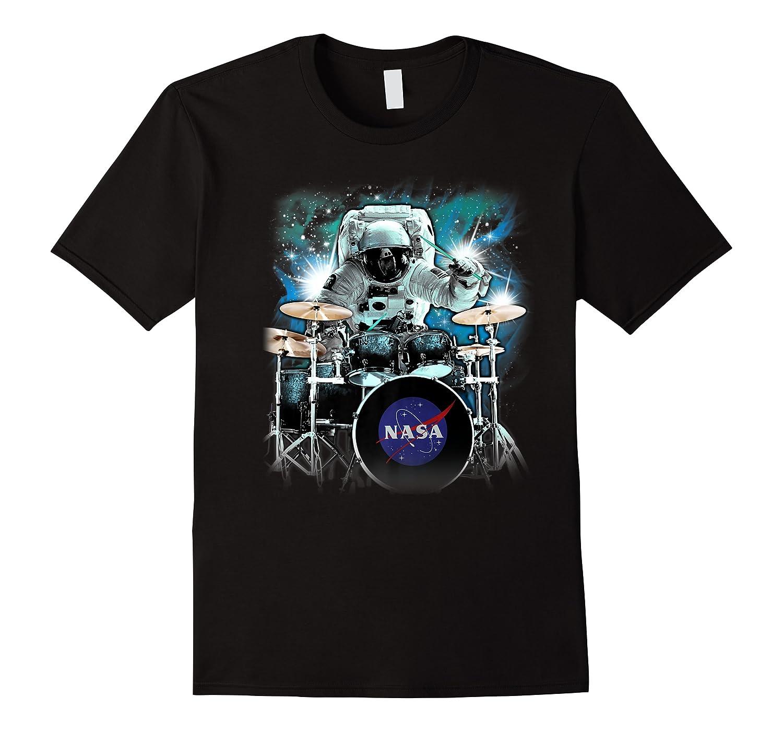 Nasa Space Drum Playing Astronaut Premium Graphic T-shirt