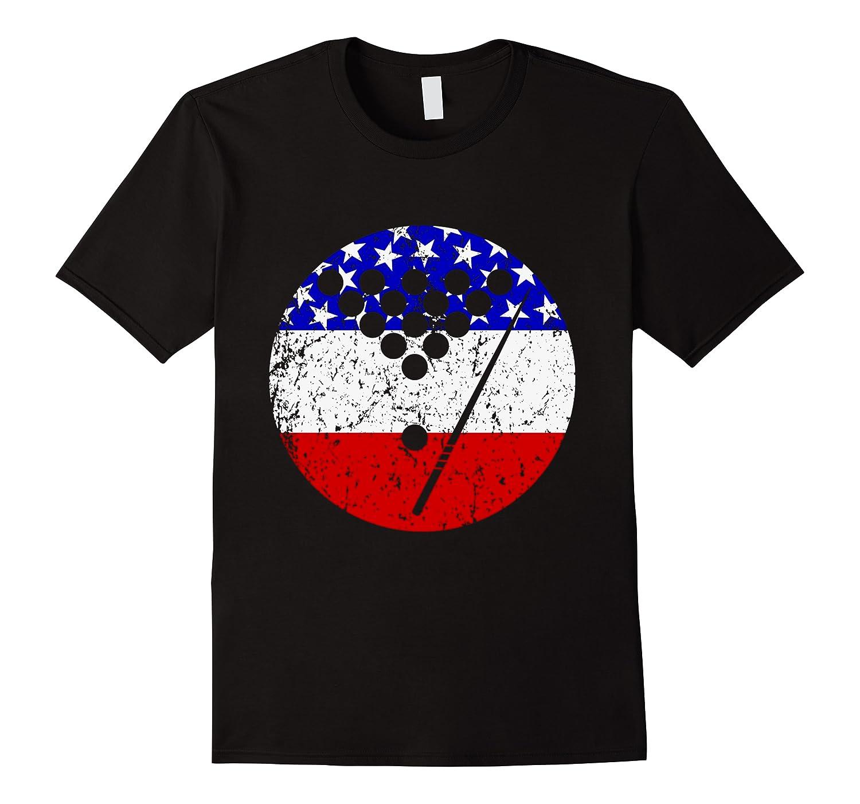 American Flag Billiards Vintage Retro Pool Shirts Men Short Sleeve