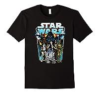 S Classic Comic Art Group Shot Darth Vader Shirts Black