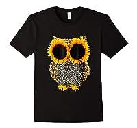 Owl Sunflower Shirt Funny Owl Lovers Shirt Black