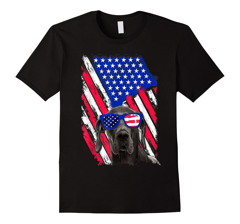 Vintage Great Dane Dog American Usa Flag Distressed Shirts