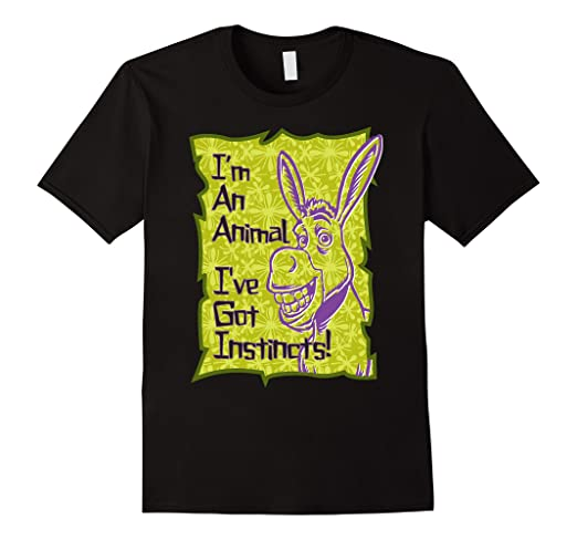 207e0943 Amazon.com: DreamWorks Shrek Donkey I've Got Instincts T-Shirt: Clothing