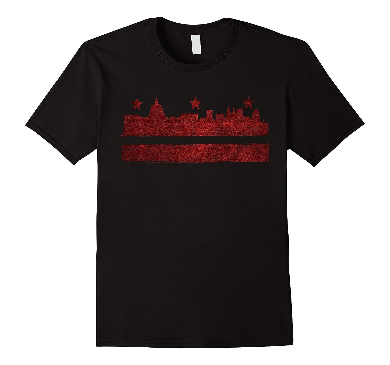 Vintage Skyline Washington Dc Flag Cities Usa Pride T Shirt