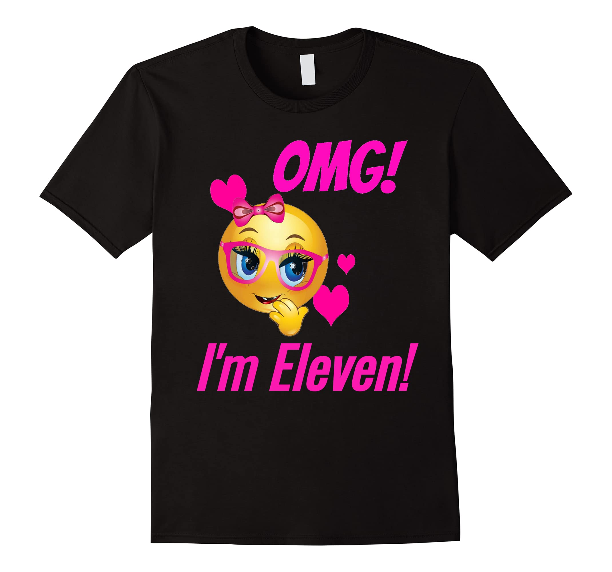 OMG! I'M ELEVEN Happy Birthday Party Pink Text Emoji T-Shirt-RT