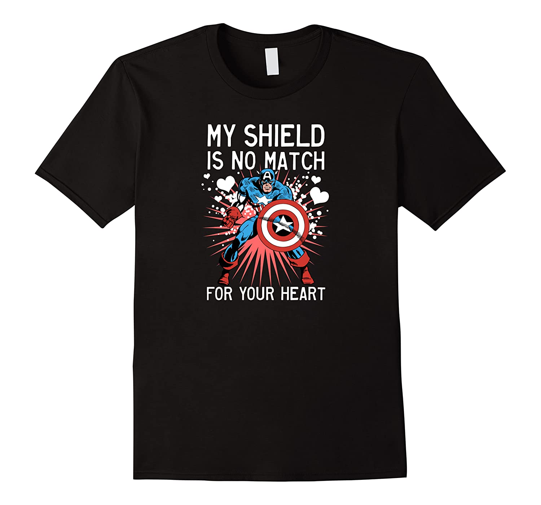 Marvel Captain America Shield Heart Valentine Shirts Men Short Sleeve