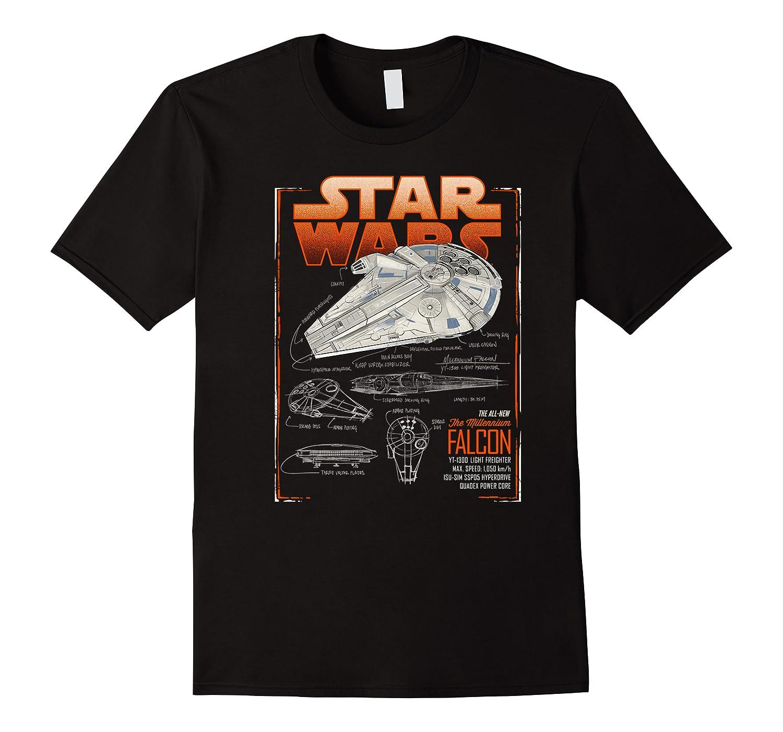S Han Solo Movie Falcon Schematics Shirts
