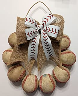 Baseball Door Wreath made with Used Leather Baseballs and White Baseball Stitch Bow