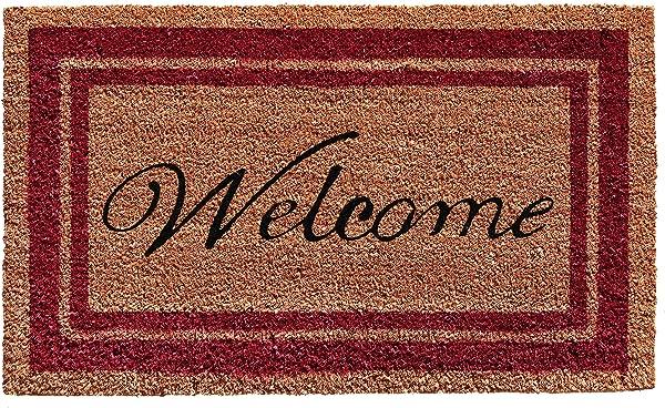 Calloway Mills 152992436WELC Border Welcome Doormat 24 X 36 Burgundy