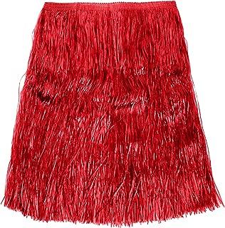 Verbetena - Falda Hawaiana rafia larga, color rojo con velcro, 80x ...