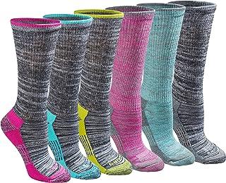 Dickies Women's Dri-tech Moisture Control Crew Socks Multipack, Grey Marl Bright (6 Pairs), Shoe Size: 6-9