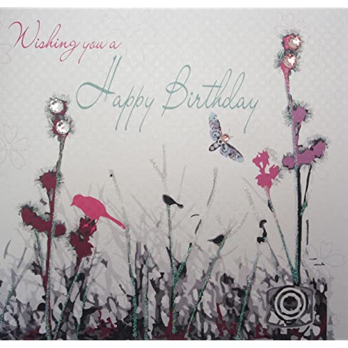 White Cotton Cards WB208 Meadow Wishing You A Happy Birthday Handmade Card