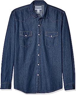 Amazon Essentials - Camisa de mezclilla ajustada y de manga larga para hombre