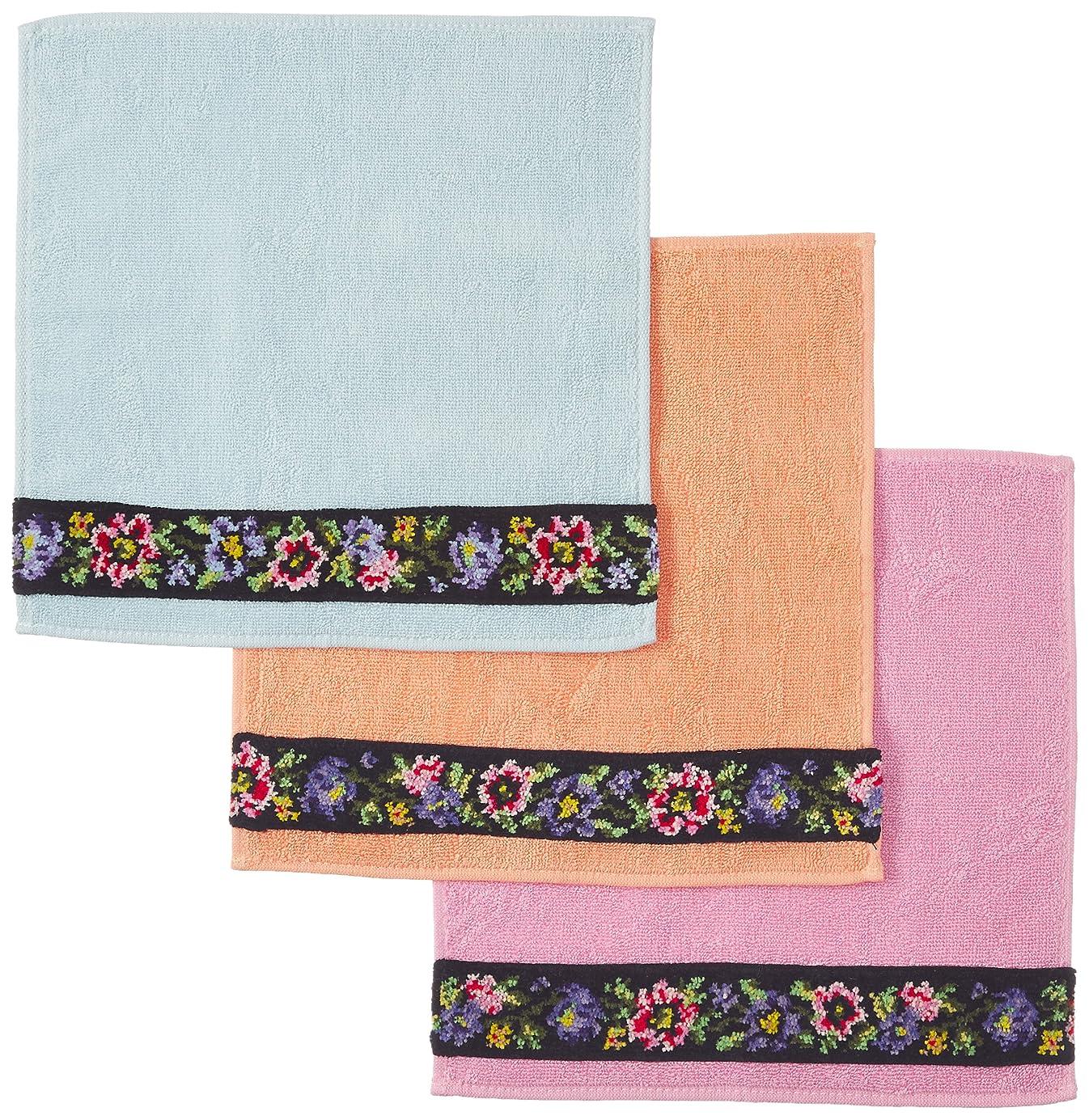 酸素ハドルすきシェニール織り タオルハンカチ 3色組
