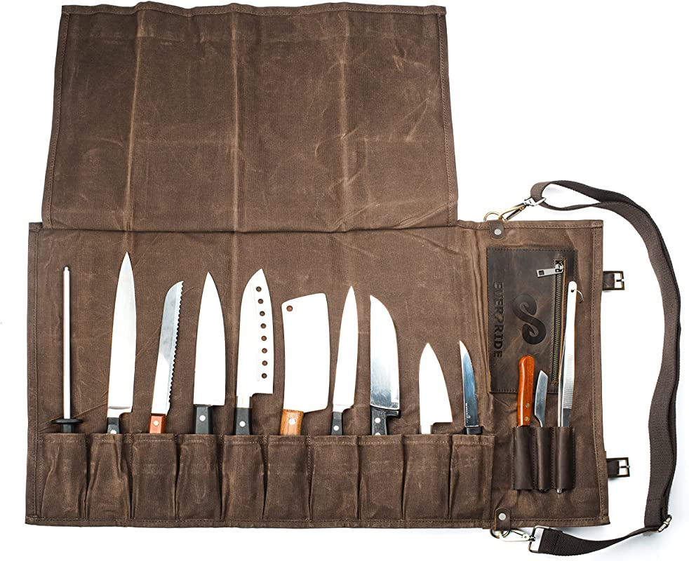Chef Knife Roll Bag 13 Slots Stores 10 Knives 3 Kitchen Utensils PLUS A Zipper Durable Waxed Canvas Knife Carrier Easily Carried By Shoulder Strap For Professional Chefs Knives Not Included
