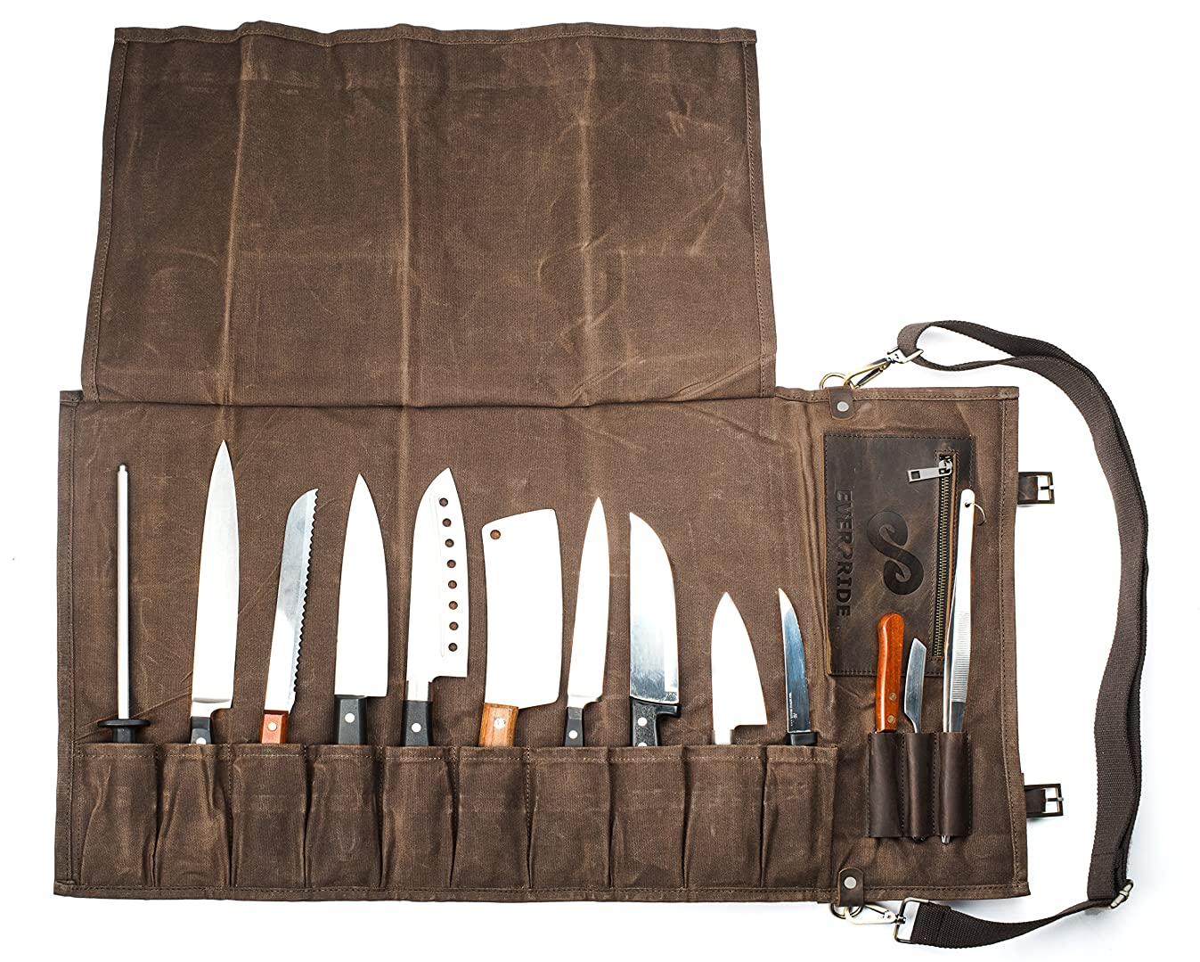Chef Knife Roll Bag (13 Slots)   Stores 10 Knives, 3 Kitchen Utensils PLUS a Zipper   Durable Waxed Canvas Knife Carrier   Easily Carried by Shoulder Strap For Professional Chefs   Knives Not Included