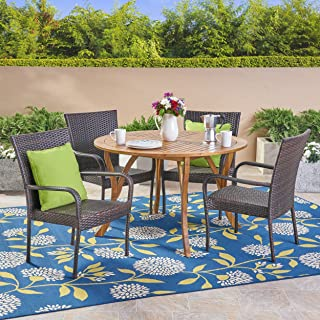 Great Deal Furniture Lance Outdoor 5 Piece Acacia Wood and Wicker Dining Set, Teak with Multi Brown Chairs