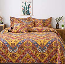Tache Hanging Gardens Aztec Boho Hawaiian Chic Exotic Yellow Red Orange Blue - Floral Colorful Paisley Chevron Matelassé Bedspread Coverlet Quilt - 3 Piece Set - California King