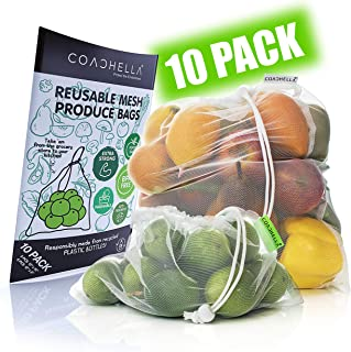 COACHELLA Reusable Produce Bags Washable (10-Pack) | Heavy-Duty, Recycled Mesh Bags | Net Zero Produce Bags for Fruits, Vegetables, Food | Ecofriendly Reusable Produce Bag | Portable Mesh Produce Bags