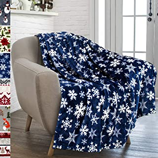 "PAVILIA Premium Plush Fleece Throw Christmas Blanket | Soft, Warm, Cozy, Reversible Microfiber Fleece Winter Cabin Throw | Holiday Snowflake Blanket 50"" x 60"" (Blue)"